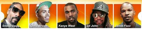 "Images of five ""celebs"": Snoop Dogg, Chris Brown, Kanye West, Lil John, Jamie Foxx"