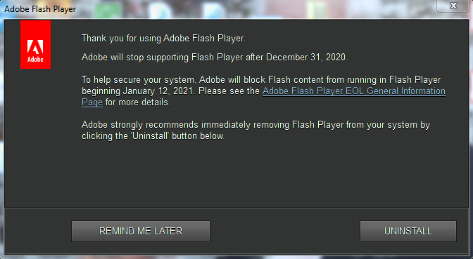 Flash player says goodbye